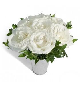 Aranjament 7 trandafiri albi