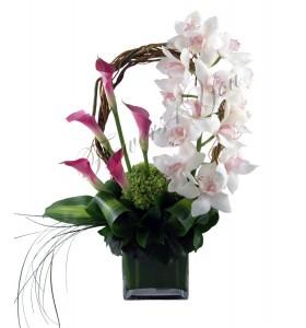 Aranjament cale roz orhidee