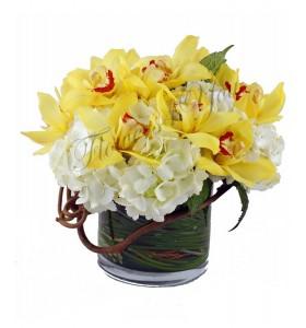 Aranjament orhidee hortensia