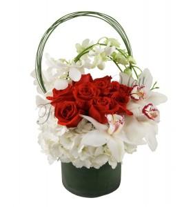 Aranjament orhidee trandafiri hortensia