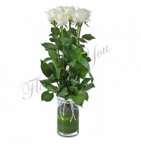 Aranjament trandafiri albi