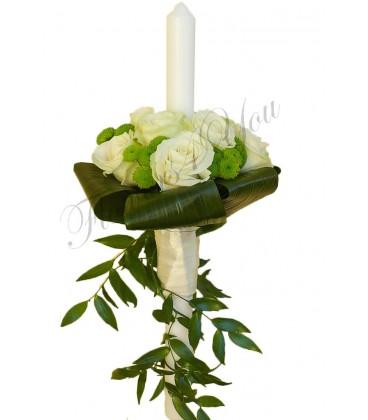 Lumanari nunta trandafiri albi santini