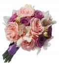 Buchet de mireasa trandafiri orhidee frezii