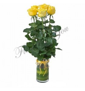 Aranjament trandafiri galbeni
