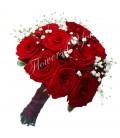 Buchet de mireasa trandafiri gipsofila