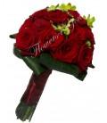 Buchet de mireasa trandafiri grena dendrobium verde