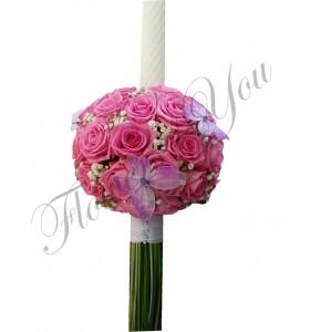 Lumanare botez trandafiri roz