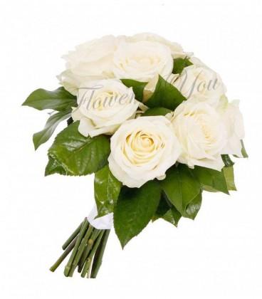 Buchet mireasa trandafiri albi salal