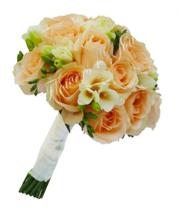 Buchet de mireasa trandafiri somon frezia