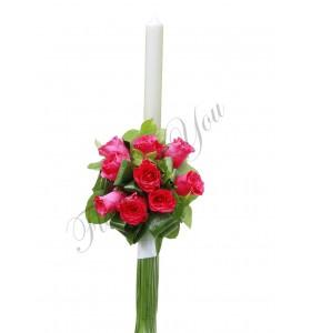 Lumanari nunta trandafiri roz