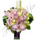 Lumanari nunta trandafiri mov orhidee