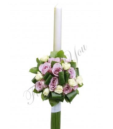 Lumanari nunta trandafiri mov miniroza