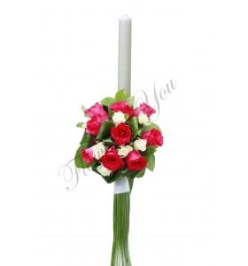 Lumanari nunta trandafiri roz miniroza