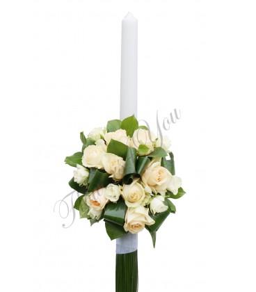 Lumanari nunta trandafiri somon miniroza