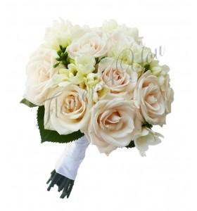 Buchet de mireasa trandafiri crem frezii albe
