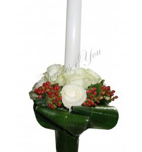 Lumanare nunta trandafiri hipericum