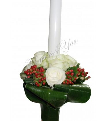 Lumanare nunta trandafiri albi hipericum