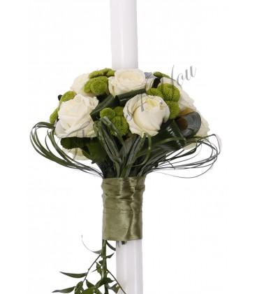 Lumanare nunta trandafiri albi santini