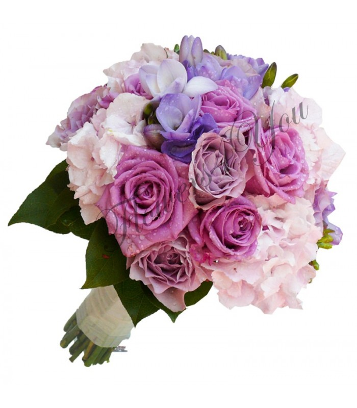 Buchet De Mireasa Trandafiri Mov Roz Hortensia Frezii