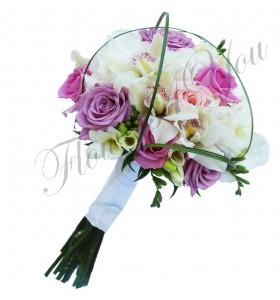 Buchet mireasa orhidee trandafiri frezia hortensia