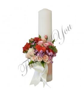 Lumanari nunta scurte trandafiri crem
