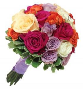 Buchet de mireasa trandafiri colorati