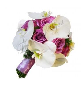 Buchet de mireasa trandafiri mov phalaenopsis alb