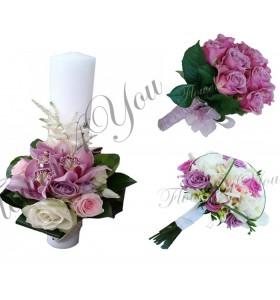 Pachete lumanari nunta scurte orhidee trandafiri