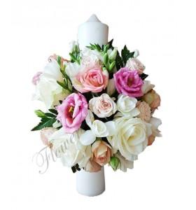 Lumanari nunta scurte frezii albe trandafiri