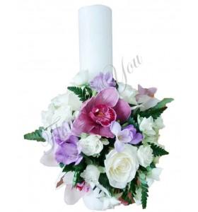Lumanari nunta scurte frezii orhidee trandafiri