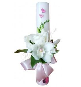 Lumanari nunta scurte frezii trandafiri orhidee