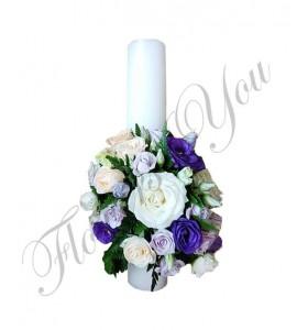 Lumanari nunta scurte lisiantus mov trandafiri