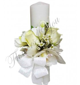 Lumanari nunta scurte orhidee alba trandafiri albi