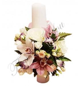 Lumanari nunta scurte orhidee roz trandafiri