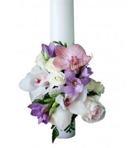 Lumanari nunta scurte orhidee trandafiri frezii