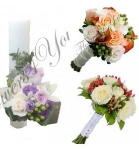 Pachete nunta lumanari buchete trandafiri si hipericum