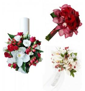 Pachete nunta lumanari buchete trandafiri si orhidee frezii.