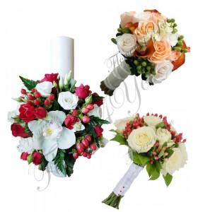 Pachete nunta lumanari buchete trandafiri si orhidee hipericum.