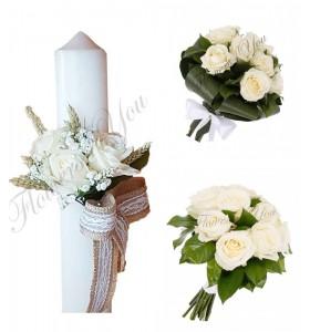 Pachete lumanari  buchete nunta trandafiri crem