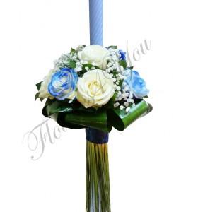 Lumanare botez baieti trandafiri albastri