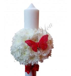 Lumanari botez fetita crizantema alba