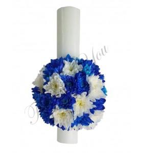 Lumanari botez baieti crizantema albastra