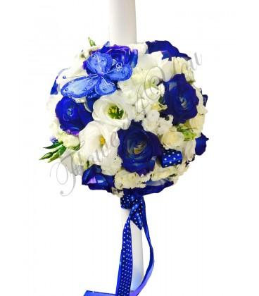 Lumanari botez lisiantus trandafiri albastri
