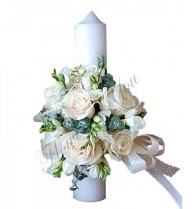 Lumanari botez trandafiri albi frezii