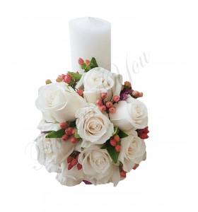 Lumanari botez trandafiri crem hipericum