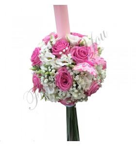 Lumanari botez trandafiri roz frezii