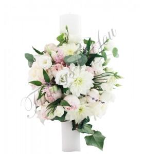 Lumanari nunta scurte crizantema bujori