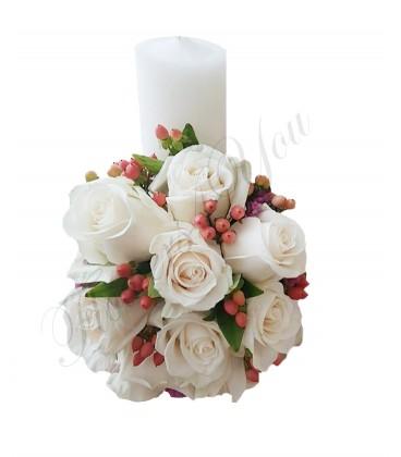 Lumanari nunta scurte hipericum trandafiri crem