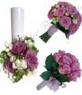 Pachete lumanari nunta ieftine tandafiri mov