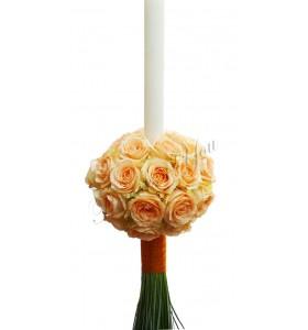 Lumanari nunta trandafiri somon